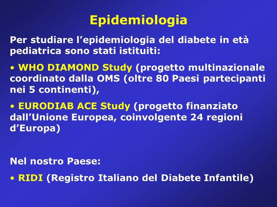 Epidemiologia Per studiare l'epidemiologia del diabete in età pediatrica sono stati istituiti: