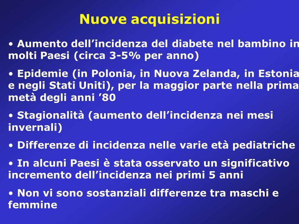 Nuove acquisizioni Aumento dell'incidenza del diabete nel bambino in molti Paesi (circa 3-5% per anno)