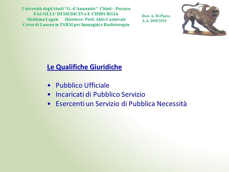 Le Qualifiche Giuridiche Pubblico Ufficiale