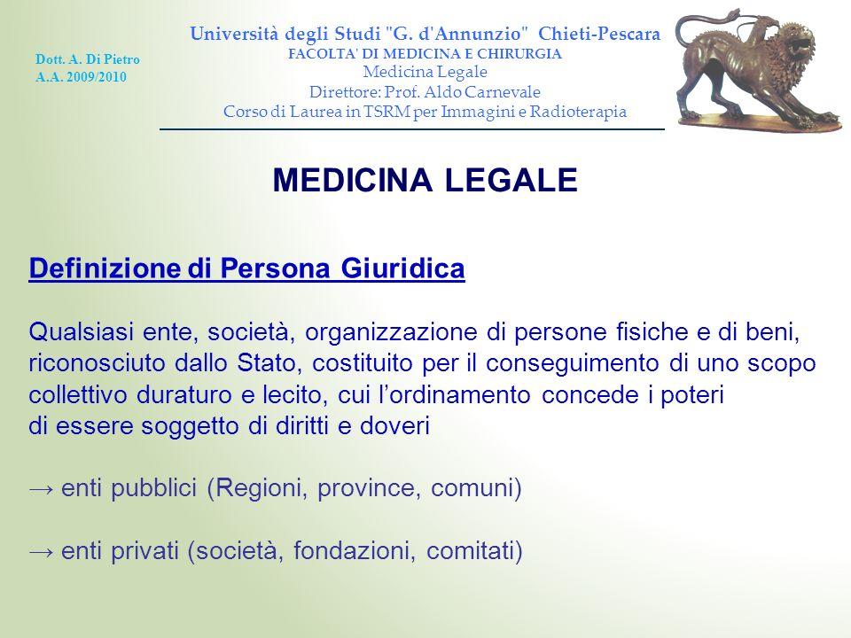 MEDICINA LEGALE Definizione di Persona Giuridica