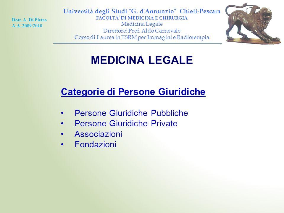 MEDICINA LEGALE Categorie di Persone Giuridiche