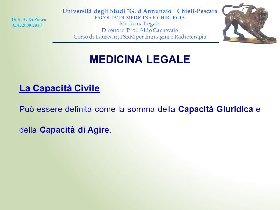 MEDICINA LEGALE La Capacità Civile