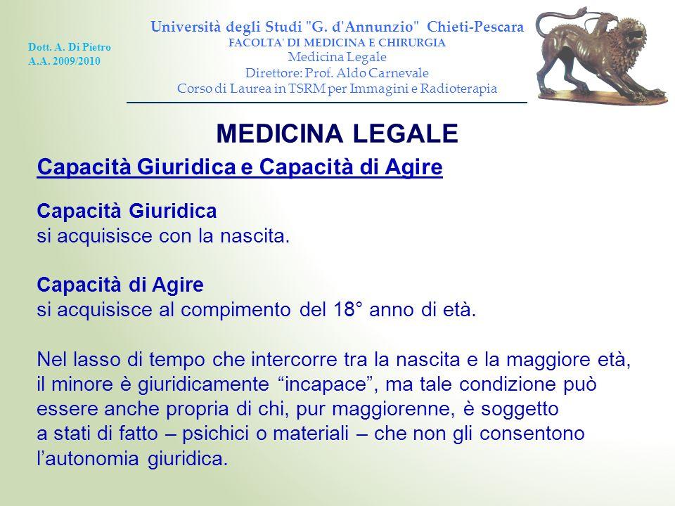 MEDICINA LEGALE Capacità Giuridica e Capacità di Agire