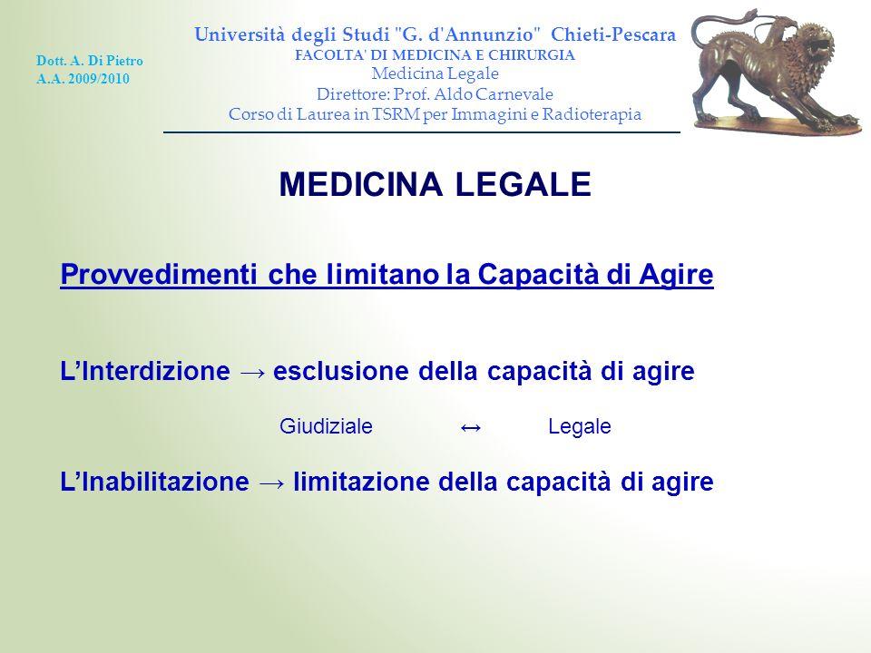 MEDICINA LEGALE Provvedimenti che limitano la Capacità di Agire