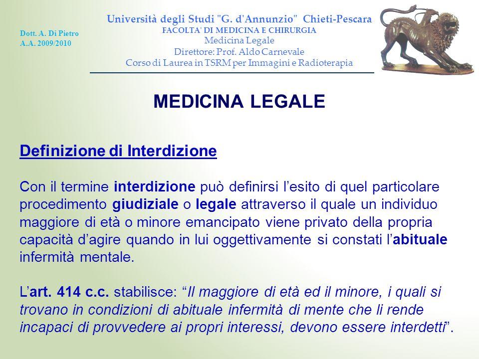 MEDICINA LEGALE Definizione di Interdizione