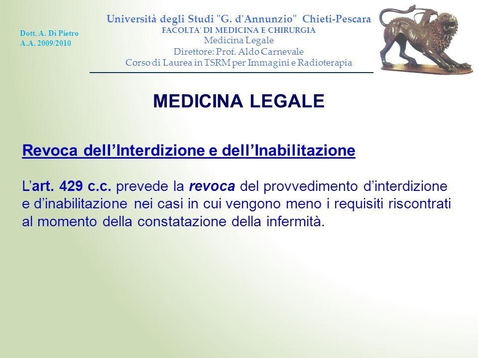 MEDICINA LEGALE Revoca dell'Interdizione e dell'Inabilitazione