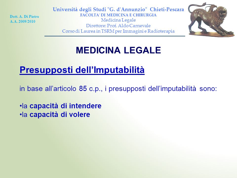 Presupposti dell'Imputabilità