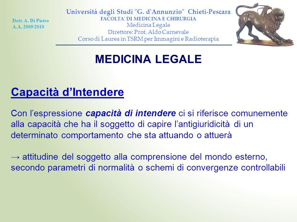 MEDICINA LEGALE Capacità d'Intendere
