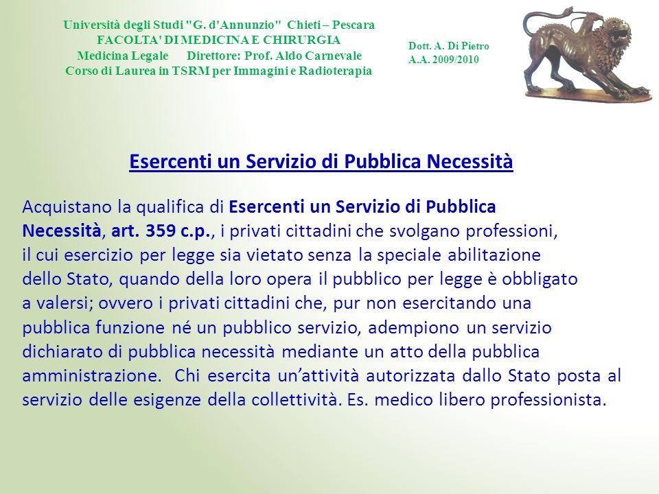 Esercenti un Servizio di Pubblica Necessità