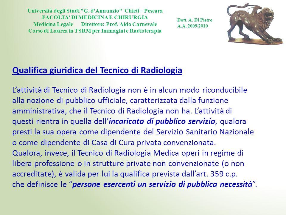 Qualifica giuridica del Tecnico di Radiologia