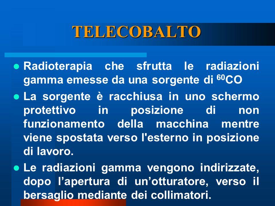 TELECOBALTO Radioterapia che sfrutta le radiazioni gamma emesse da una sorgente di 60CO.