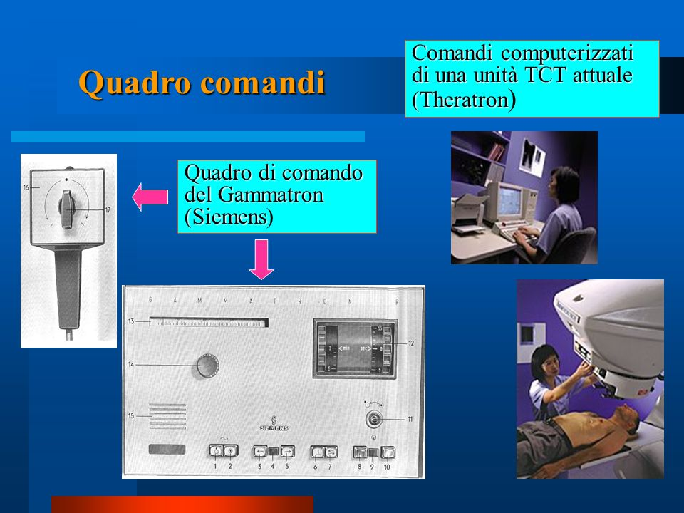 Comandi computerizzati di una unità TCT attuale (Theratron)