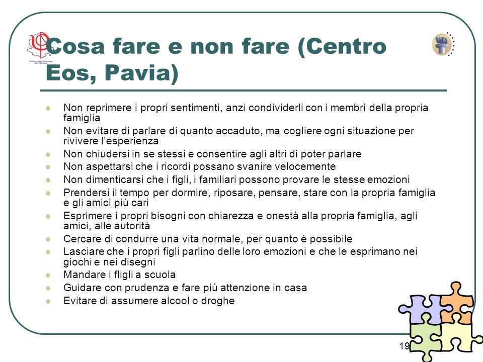 Cosa fare e non fare (Centro Eos, Pavia)