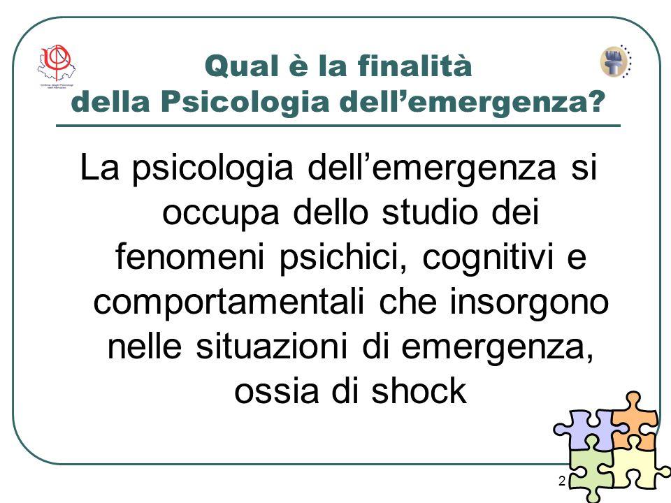 Qual è la finalità della Psicologia dell'emergenza