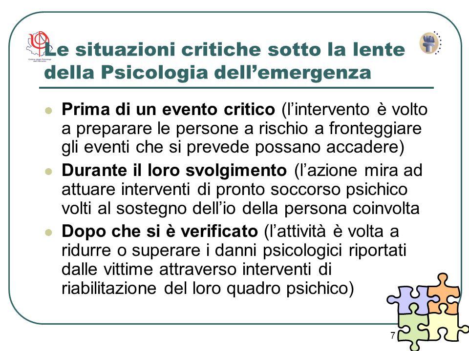 Le situazioni critiche sotto la lente della Psicologia dell'emergenza