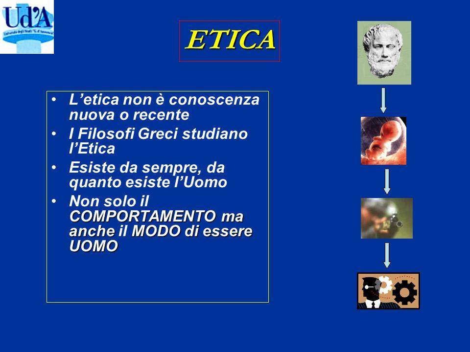 ETICA L'etica non è conoscenza nuova o recente