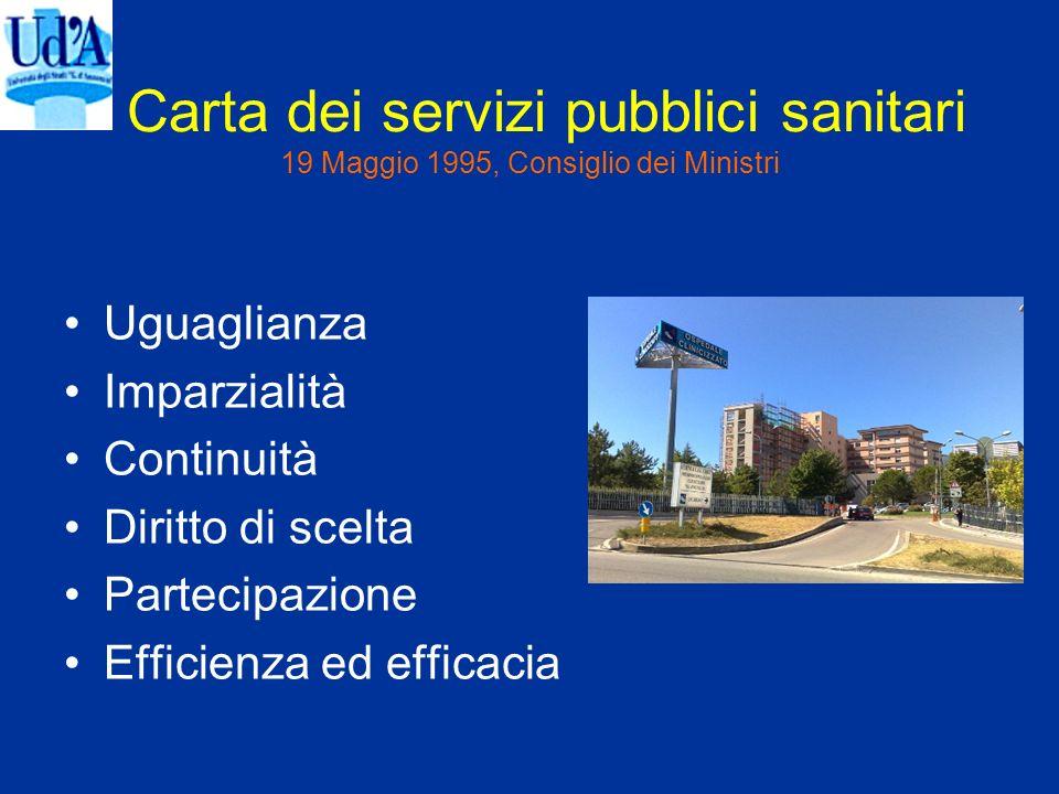 Carta dei servizi pubblici sanitari 19 Maggio 1995, Consiglio dei Ministri