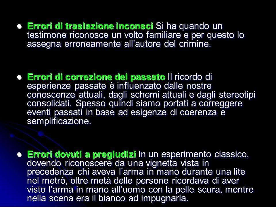 Errori di traslazione inconsci Si ha quando un testimone riconosce un volto familiare e per questo lo assegna erroneamente all'autore del crimine.