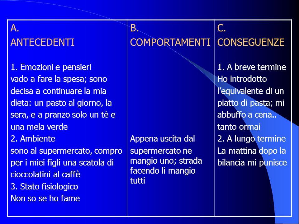 A. ANTECEDENTI B. COMPORTAMENTI C. CONSEGUENZE 1. Emozioni e pensieri