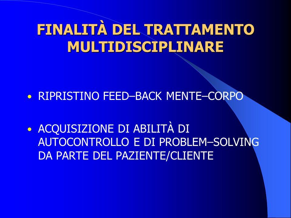FINALITÀ DEL TRATTAMENTO MULTIDISCIPLINARE