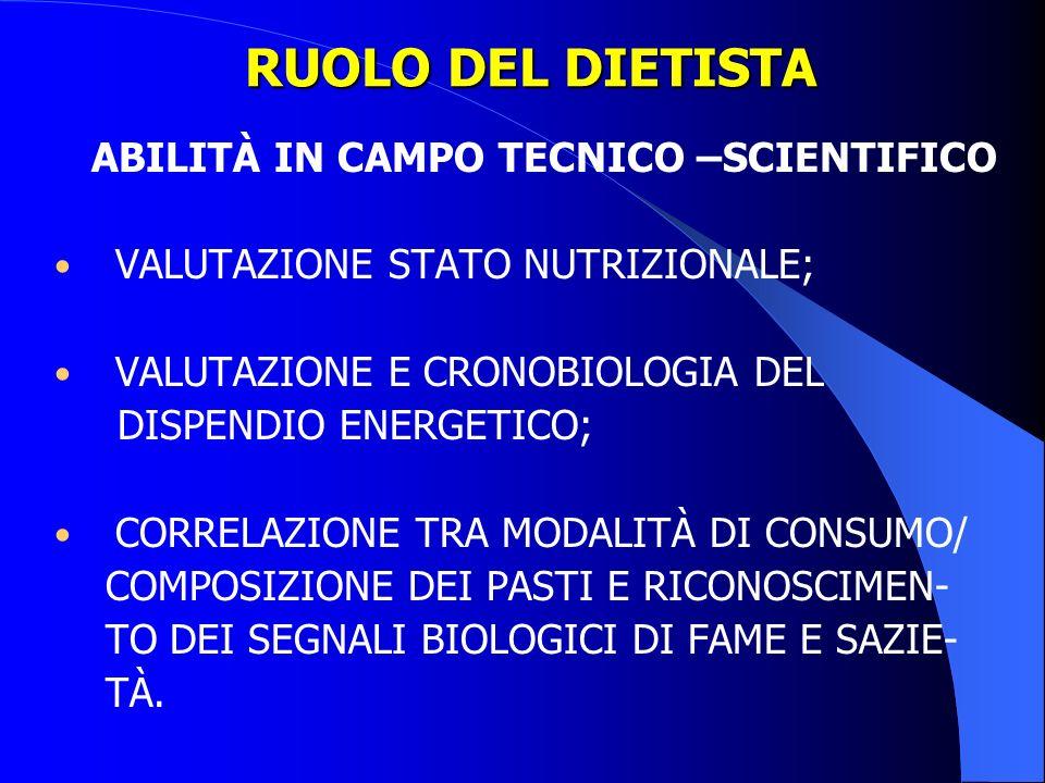 ABILITÀ IN CAMPO TECNICO –SCIENTIFICO