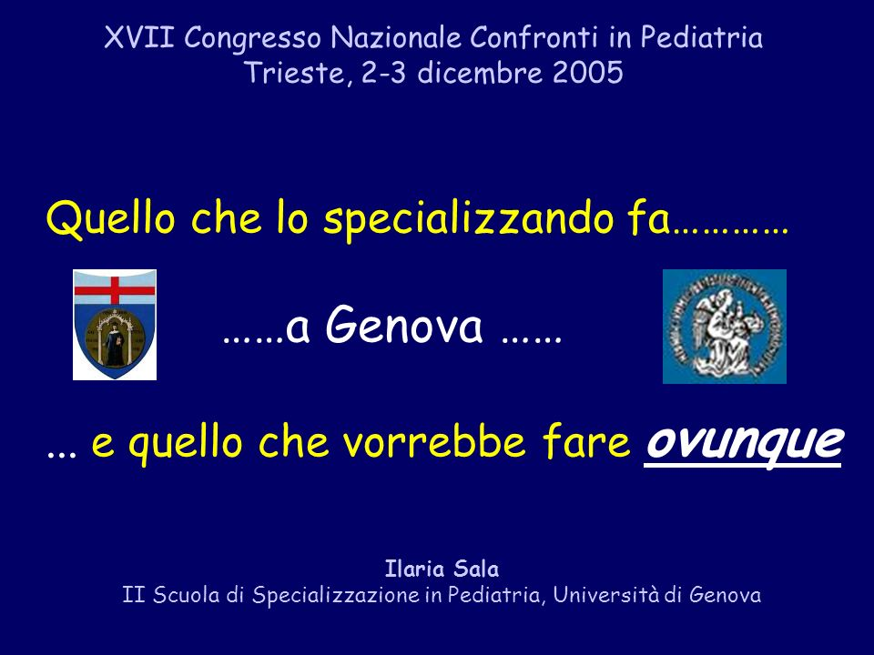 II Scuola di Specializzazione in Pediatria, Università di Genova