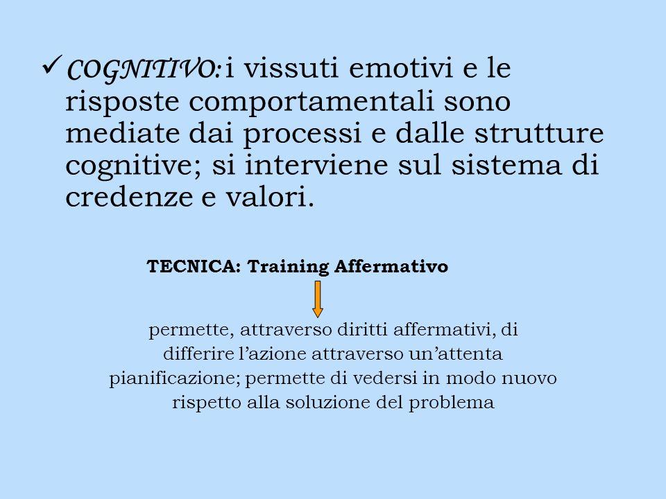 COGNITIVO: i vissuti emotivi e le risposte comportamentali sono mediate dai processi e dalle strutture cognitive; si interviene sul sistema di credenze e valori.