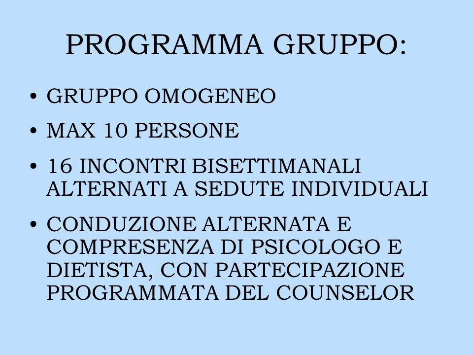 PROGRAMMA GRUPPO: GRUPPO OMOGENEO MAX 10 PERSONE