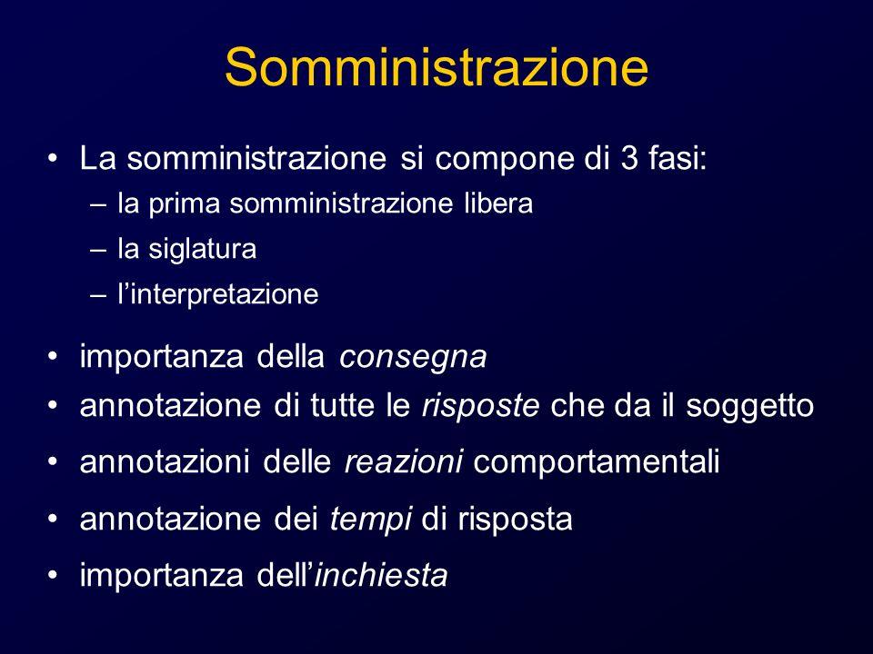 Somministrazione La somministrazione si compone di 3 fasi: