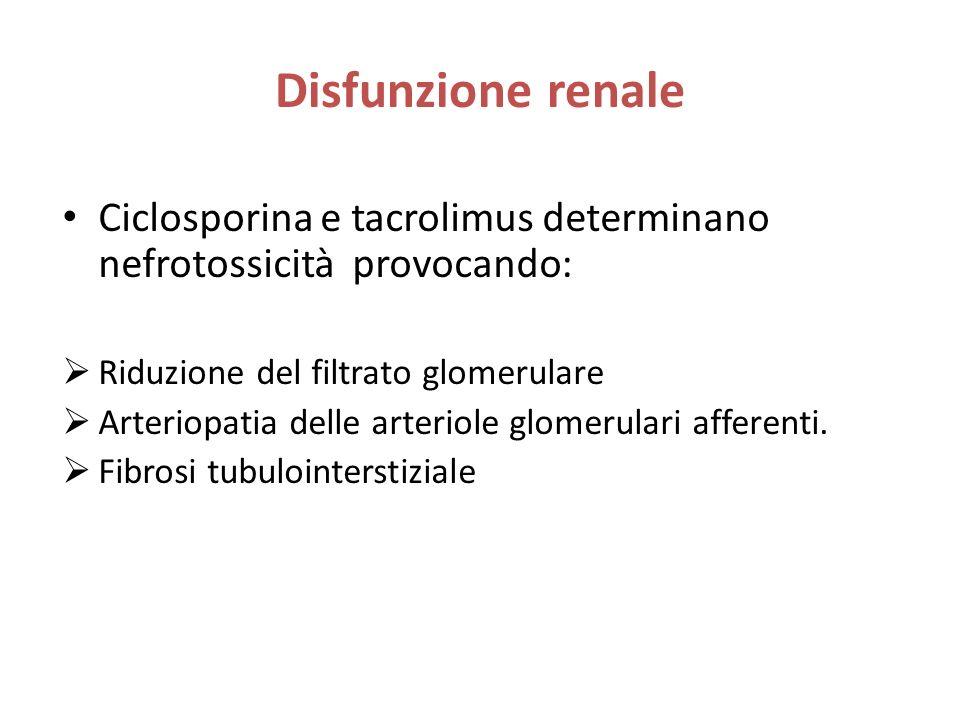 Disfunzione renale Ciclosporina e tacrolimus determinano nefrotossicità provocando: Riduzione del filtrato glomerulare.