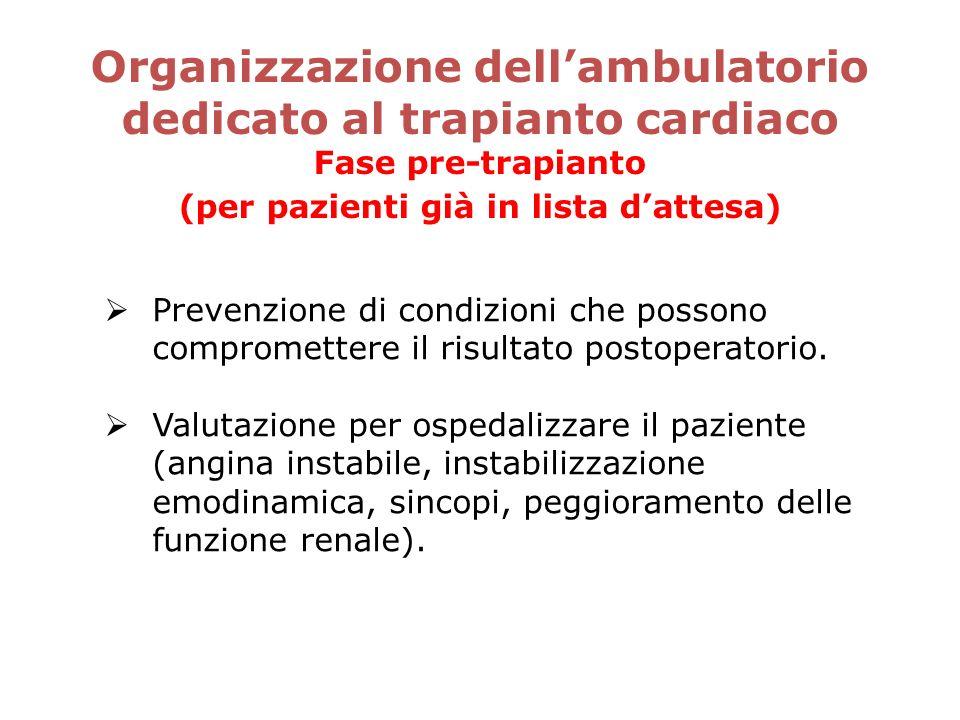Organizzazione dell'ambulatorio dedicato al trapianto cardiaco