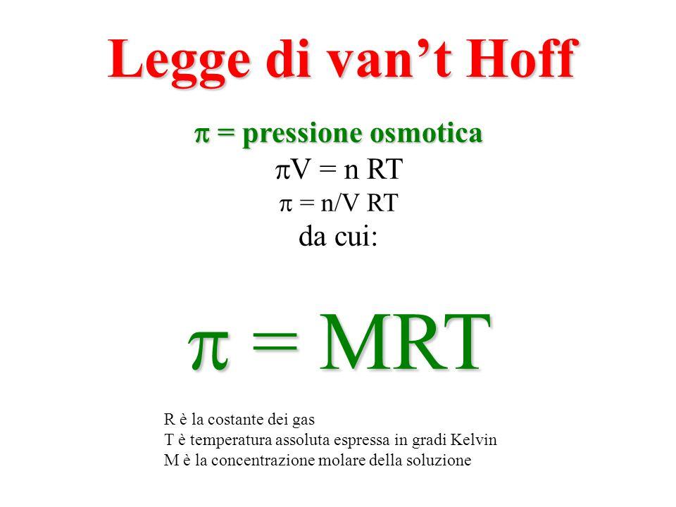 = MRT Legge di van't Hoff  = pressione osmotica V = n RT da cui: