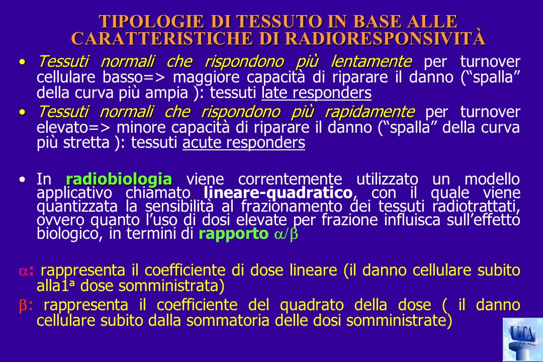 TIPOLOGIE DI TESSUTO IN BASE ALLE CARATTERISTICHE DI RADIORESPONSIVITÀ