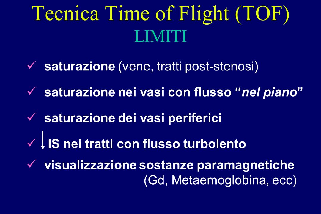 Tecnica Time of Flight (TOF) LIMITI