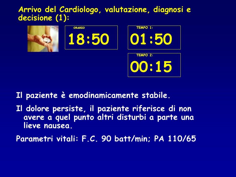 Arrivo del Cardiologo, valutazione, diagnosi e decisione (1):