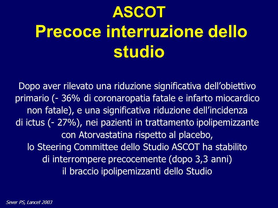ASCOT Precoce interruzione dello studio