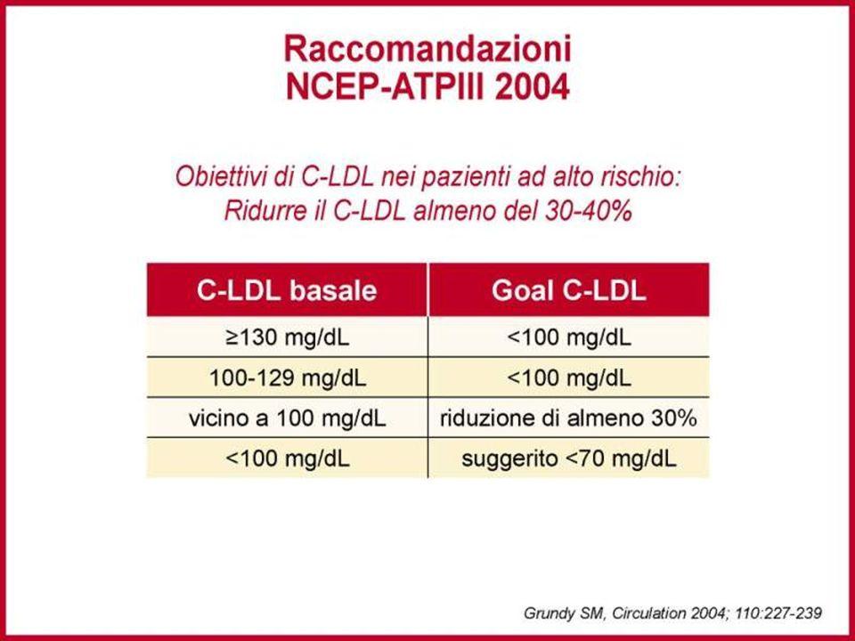 Nei pazienti ad alto rischio il goal di riduzione di C-LDL deve essere visto in relazione ai valori basali. In quelli ad alto rischio è raccomandata una riduzione del 30-40% di C-LDL. I farmaci di scelta sono le statine.