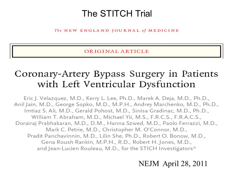 The STITCH Trial NEJM April 28, 2011