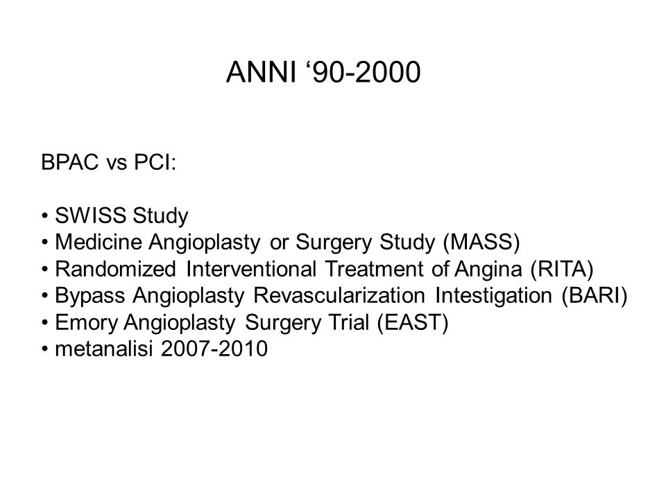 ANNI '90-2000 BPAC vs PCI: SWISS Study