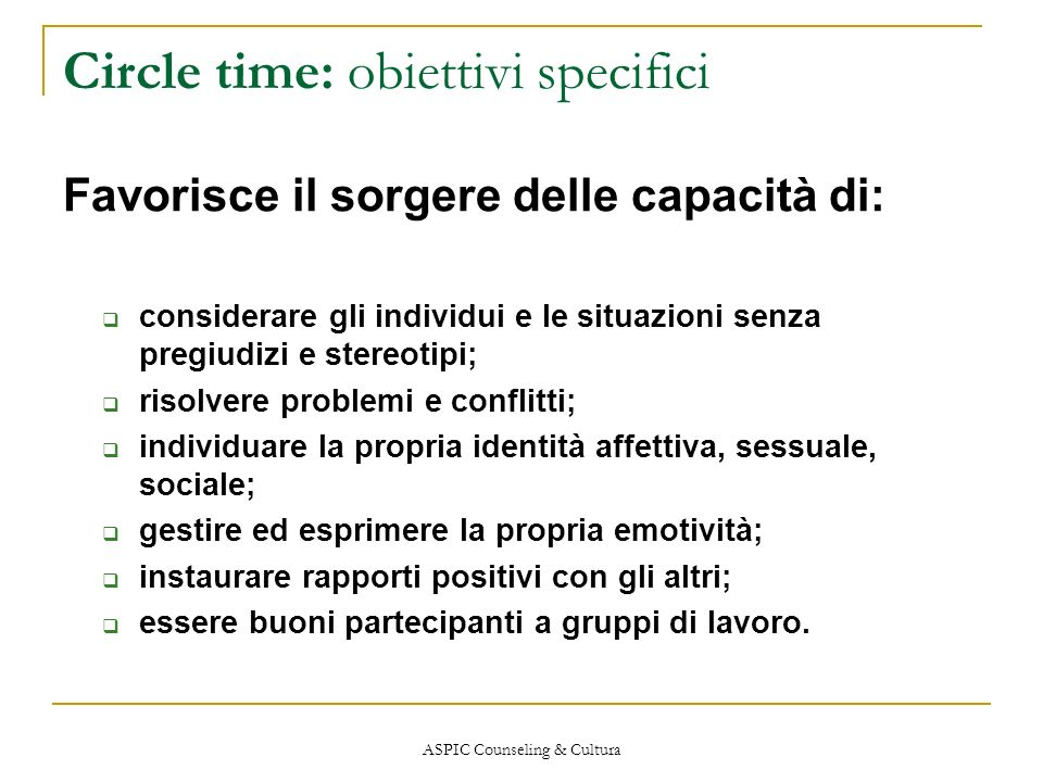 Circle time: obiettivi specifici