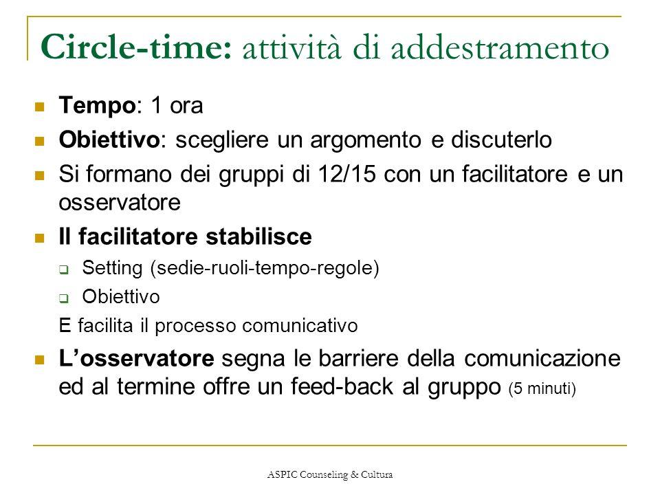 Circle-time: attività di addestramento