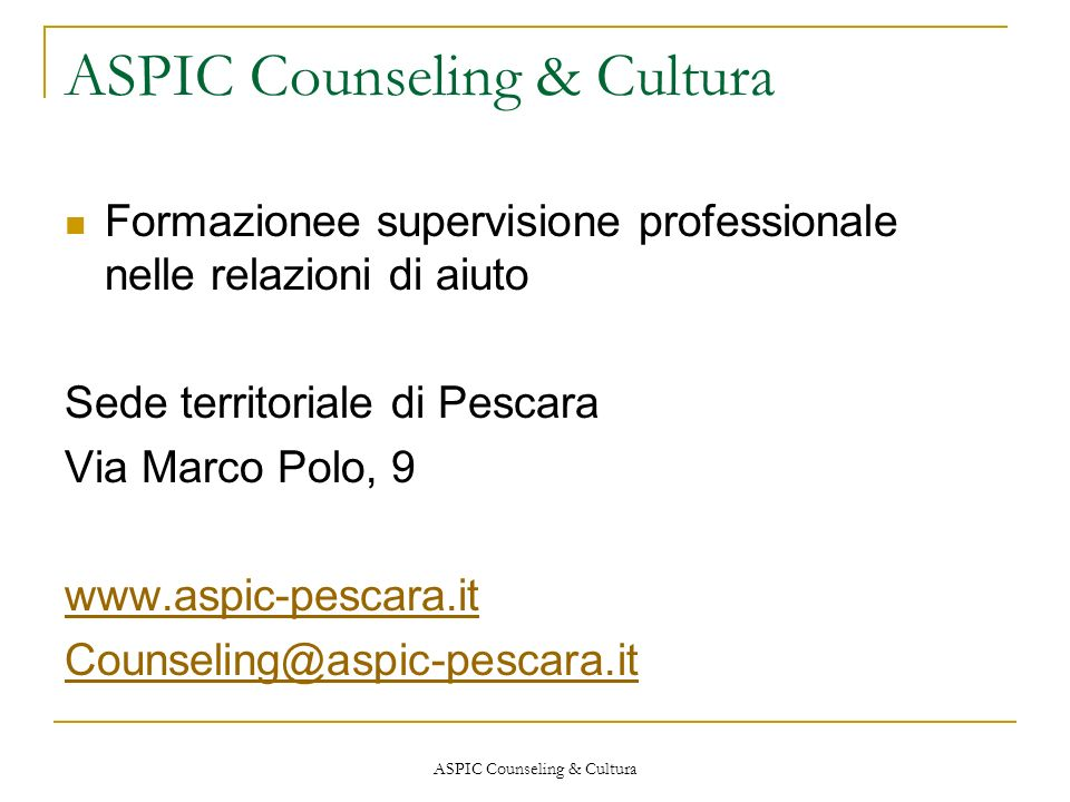 ASPIC Counseling & Cultura