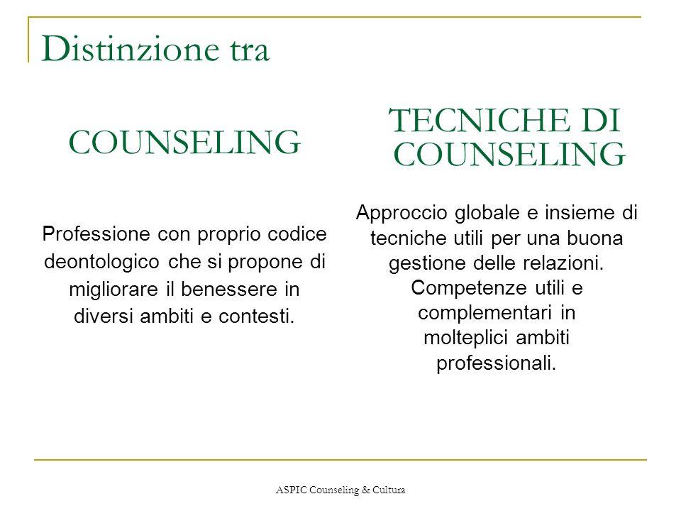 Distinzione tra COUNSELING TECNICHE DI COUNSELING