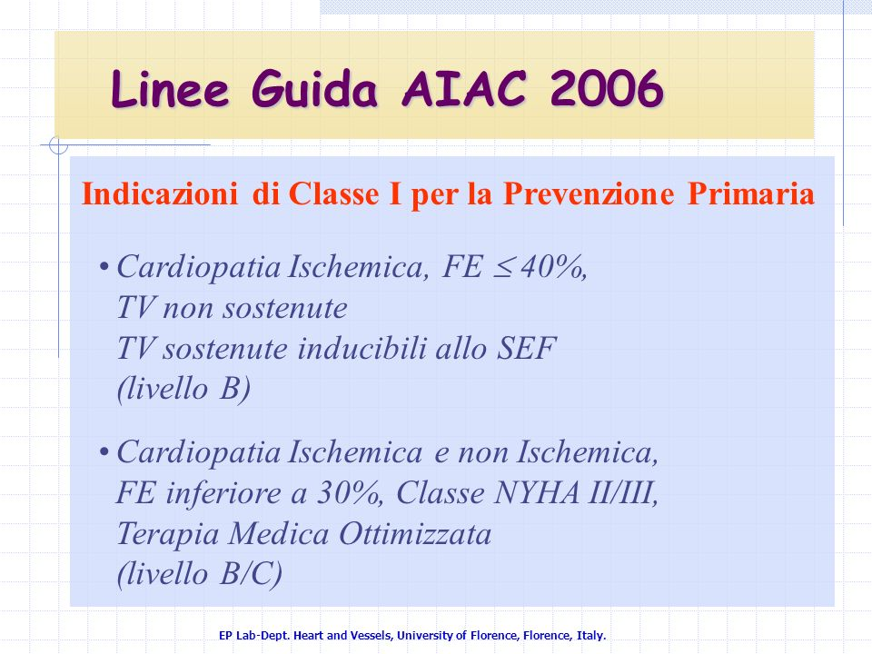 Indicazioni di Classe I per la Prevenzione Primaria