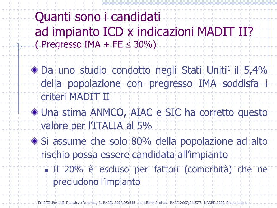 Quanti sono i candidati ad impianto ICD x indicazioni MADIT II