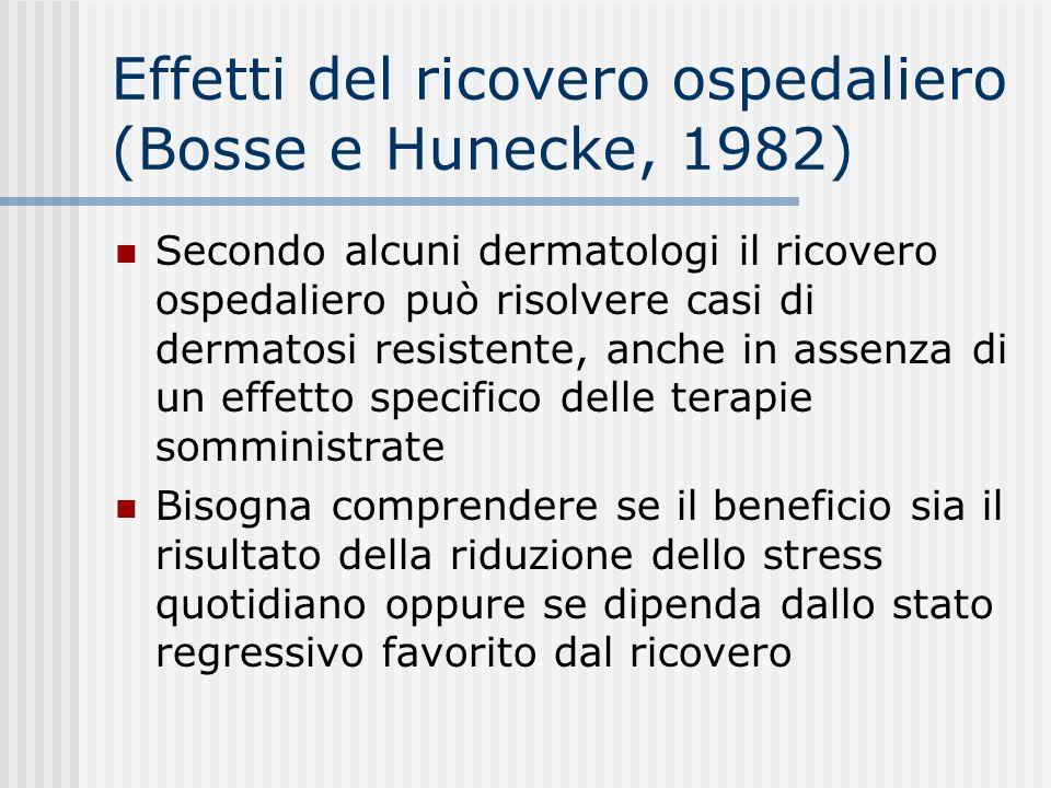 Effetti del ricovero ospedaliero (Bosse e Hunecke, 1982)