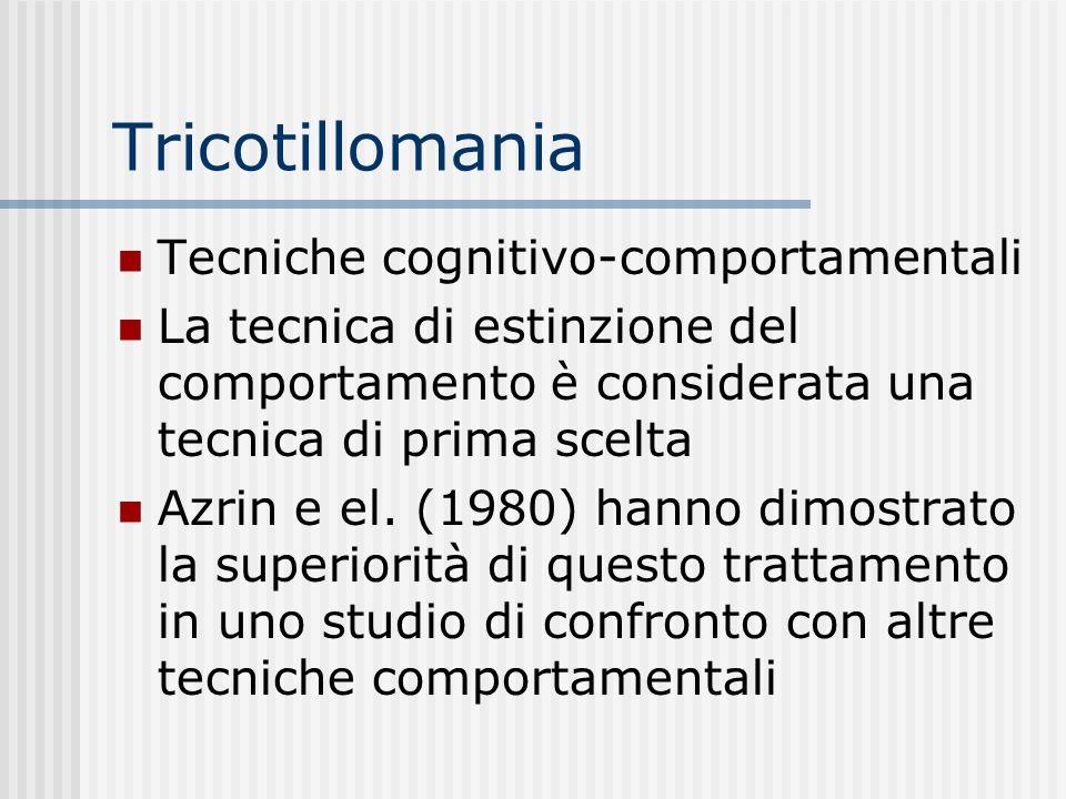 Tricotillomania Tecniche cognitivo-comportamentali
