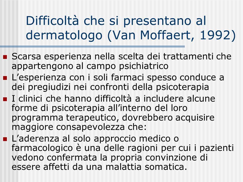 Difficoltà che si presentano al dermatologo (Van Moffaert, 1992)