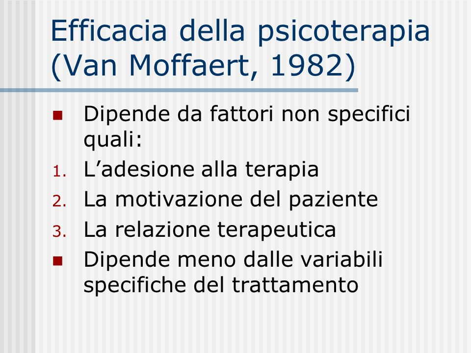 Efficacia della psicoterapia (Van Moffaert, 1982)