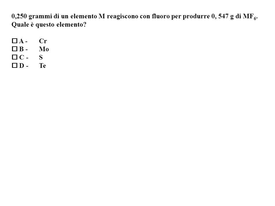 0,250 grammi di un elemento M reagiscono con fluoro per produrre 0, 547 g di MF6.